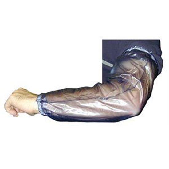 Picture of Economy Blue Vinyl Milking Sleeve w/Gathered Cuff (Pair)