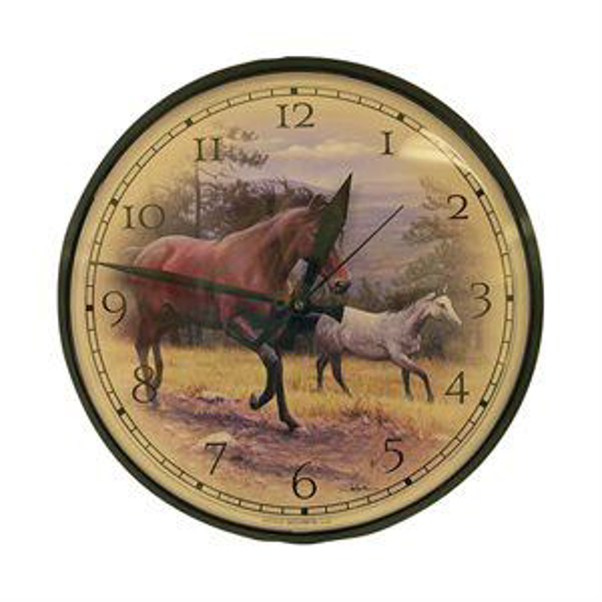 "Picture of 12-1/2"" Horses Clock"